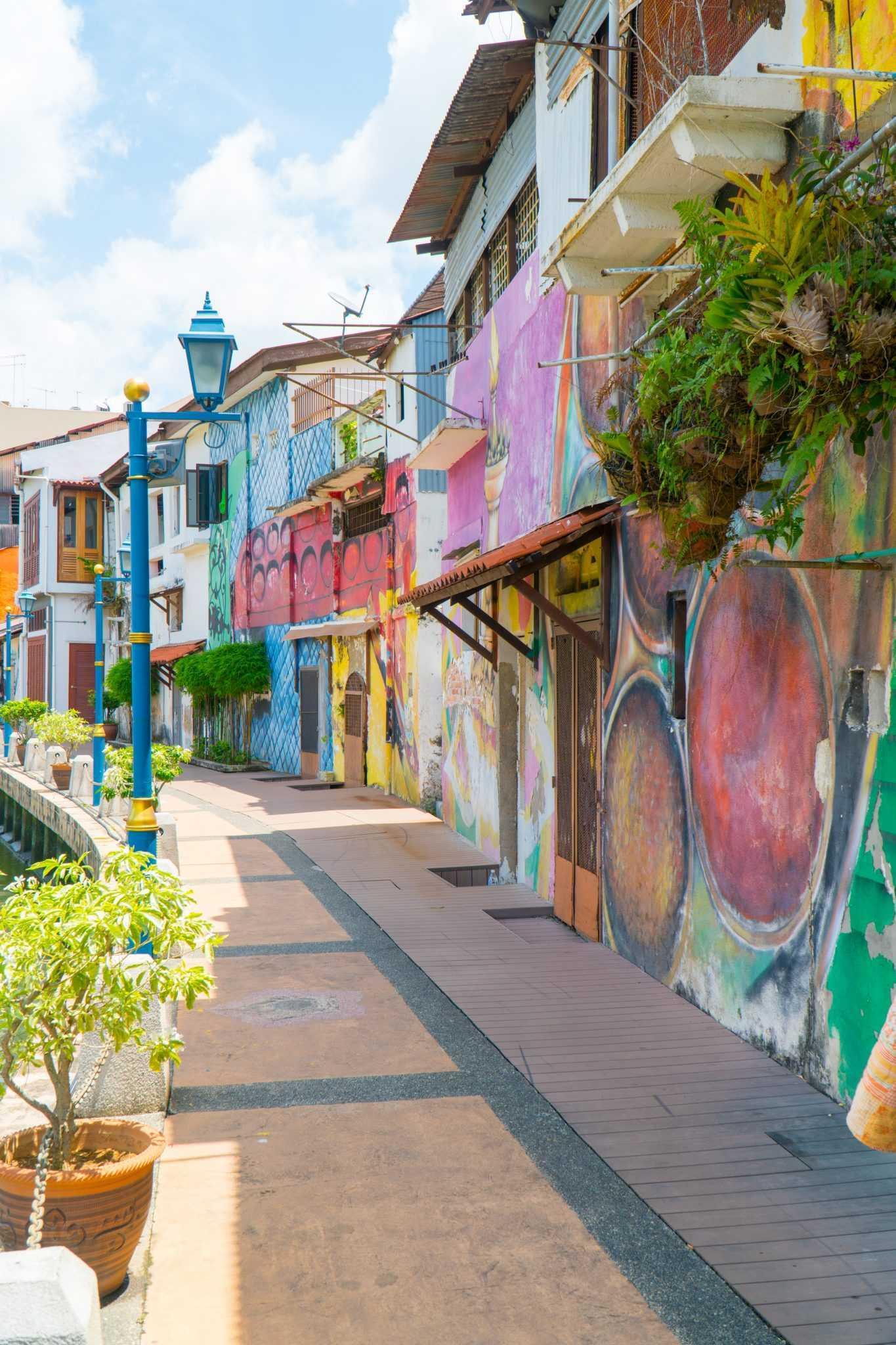 Une rue colorée de Malacca